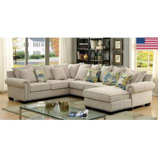 Furniture of America SKYLER Living Room Sectional Sofa Chaise Ivory Padded  Chenille Fabric Beautiful Rolled Arms Gorgeous Pillows Made in USA