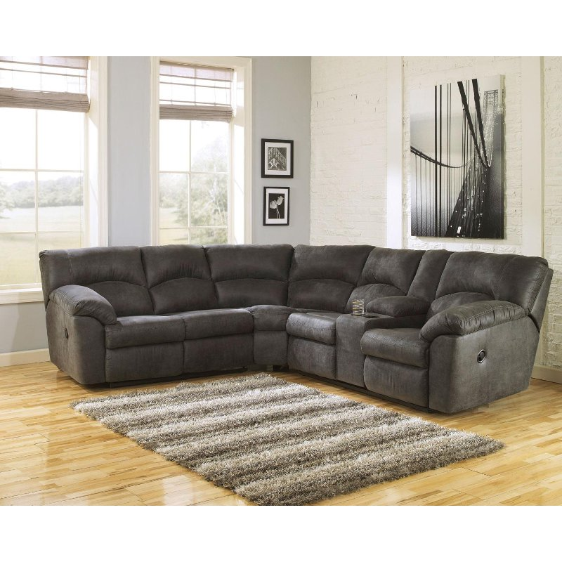 Gray 2 Piece Pewter Reclining Sectional Sofa - Tambo | RC Willey Furniture  Store