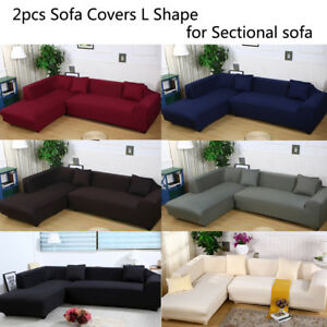 Image is loading Sectional-Sofa-Covers-L-Shape-2pcs-2-3seat-