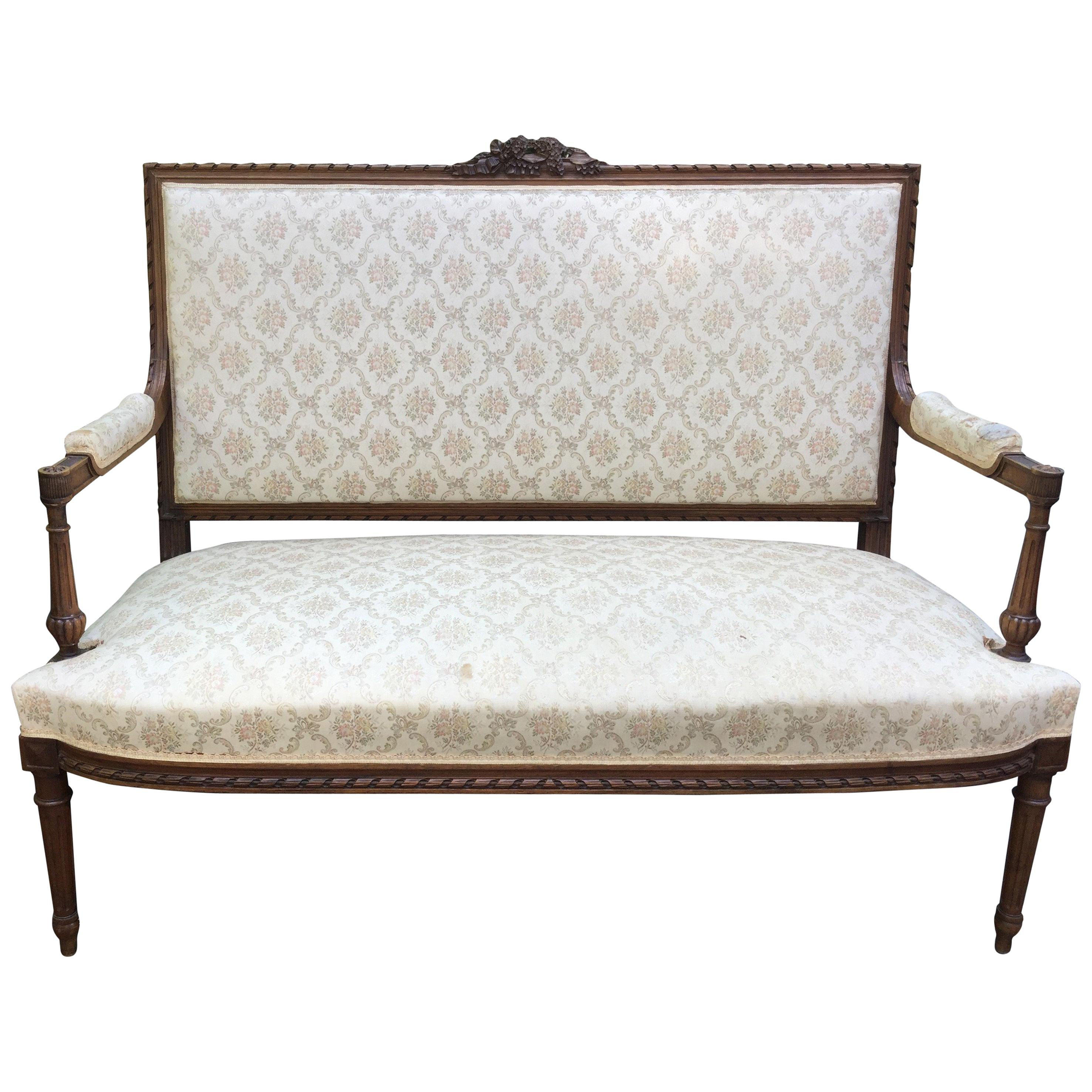 Lovely 19th Century French Louis XVI Style Walnut Settee Loveseat For Sale