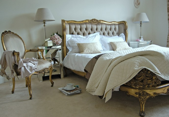gold shabby chic bedroom furniture