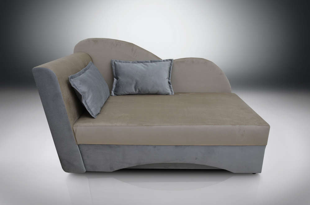 SINGLE BED SOFA BED WAVE, PRIMO VELVET FABRIC SILVER / BEIGE