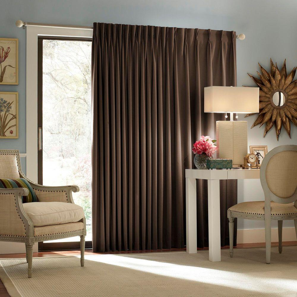 Eclipse Blackout Thermal Blackout Patio Door 84 in. L Curtain Panel in  Espresso