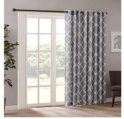 Traveller Location: 1pc 84 Grey Color Geometric Sliding Door Curtain, Gray Sliding  Patio Door Panel Window Treatment Single Panel, Lattice Design Contemporary