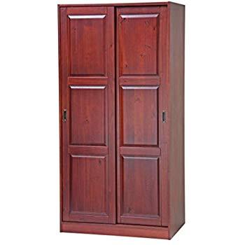 100% Solid Wood 2-Sliding Door Wardrobe/Armoire/Closet/Mudroom Storage