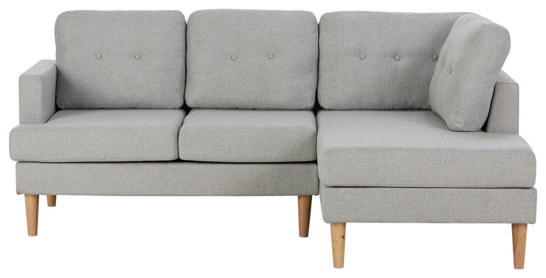 Argos Home Joshua Right Corner Fabric Sofa - Light Grey