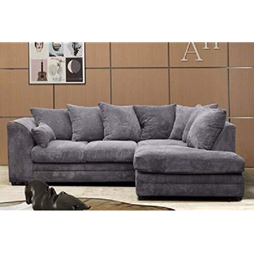 Logan Corner Sofa RHF Jumbo Cord Fabric - Grey