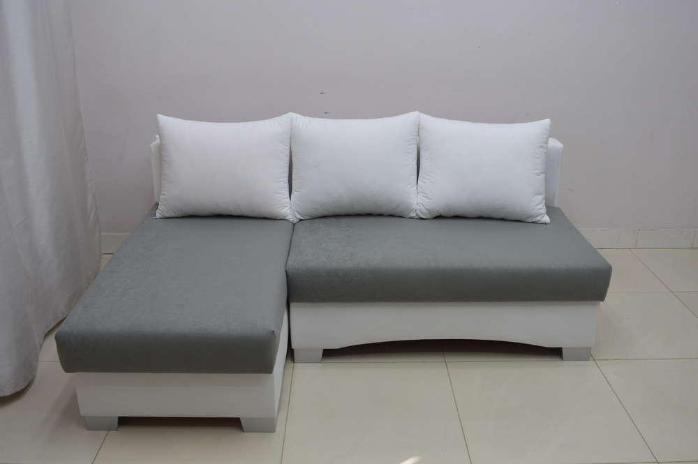 SMALL CORNER SOFA BED PICCO, WHITE/ DK GREY SUEDLINE FABRIC