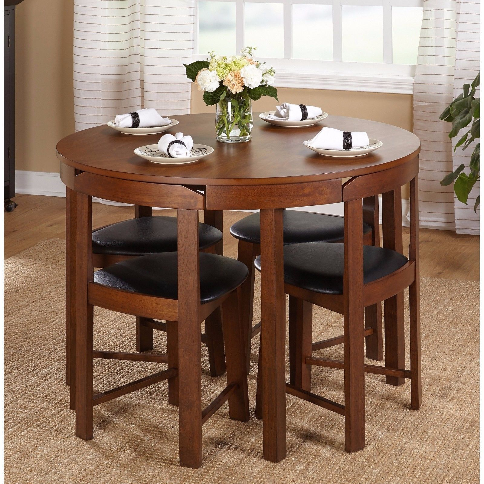 Dining Table Set For 4 Small Spaces Round Kitchen Table and Chairs – Common  Shopping