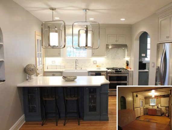 small kitchen remodel, before and after white cabinets, blue island,  contemporary