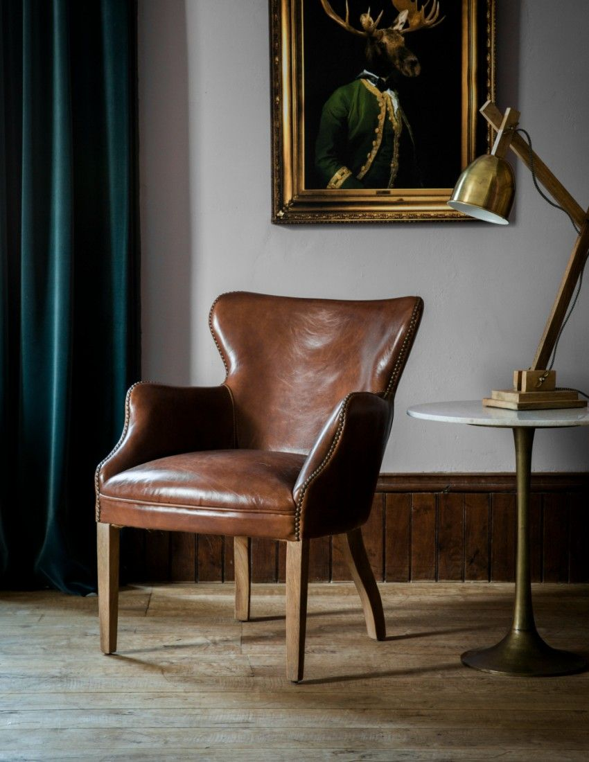 Havana Brown Leather Chair from Rose & Grey