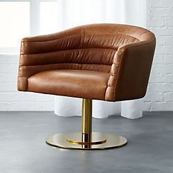 cupa saddle leather swivel base chair