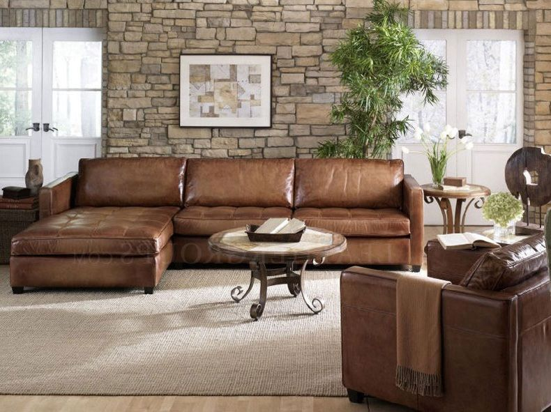 Furniture: Small Leather Sectional Sofa Design With Brown Leather Sofa,  Tile Decoration Wall, And Wooden Floor, Best Rated Leather Sectional Sofas,