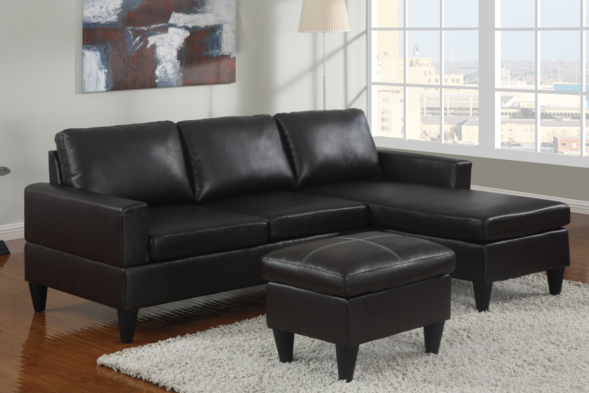 Small Black Faux Leather Sectional Sofa with Ottoman