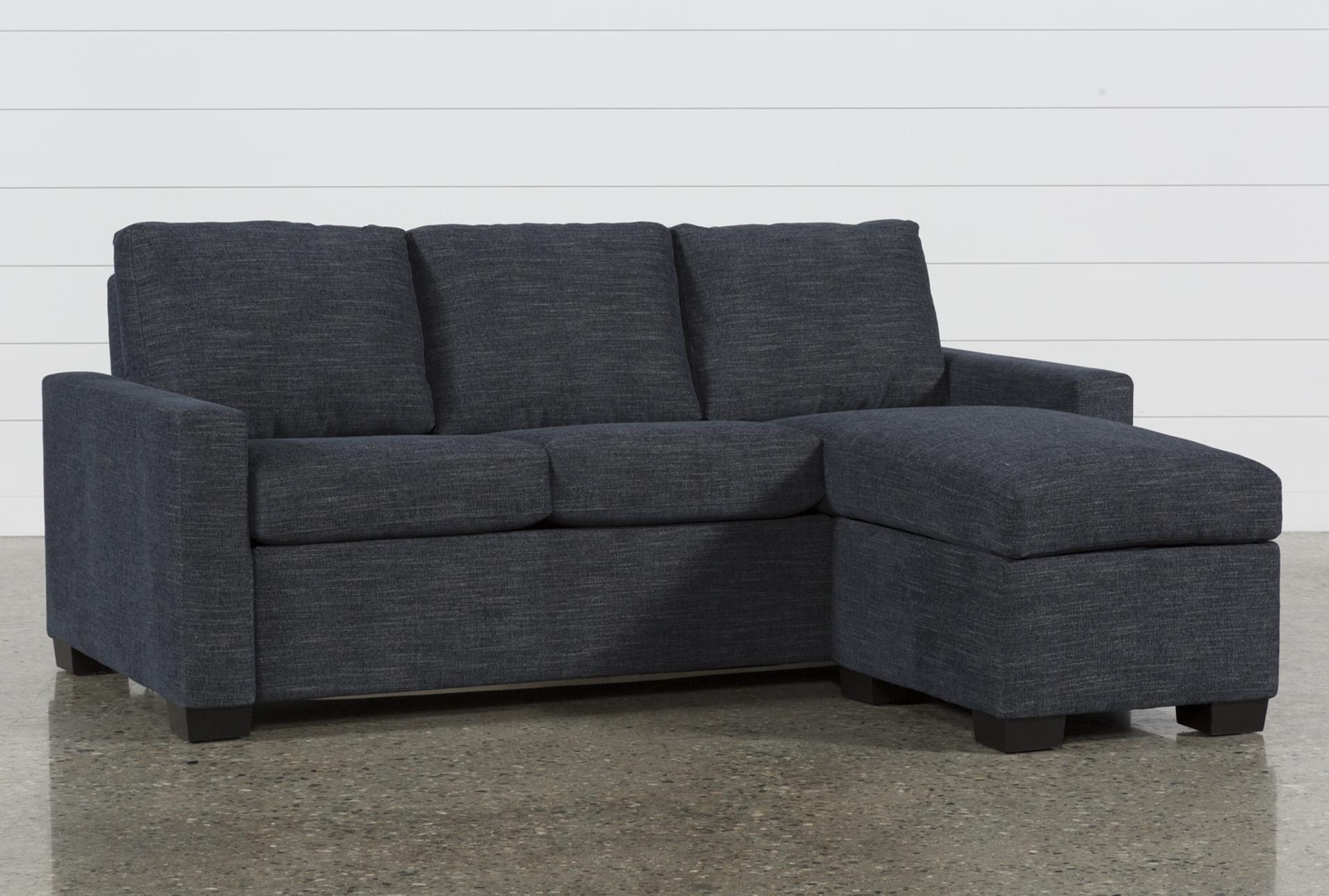 Mackenzie Denim Queen Plus Sofa Sleeper W/ Storage Chaise | Living Spaces