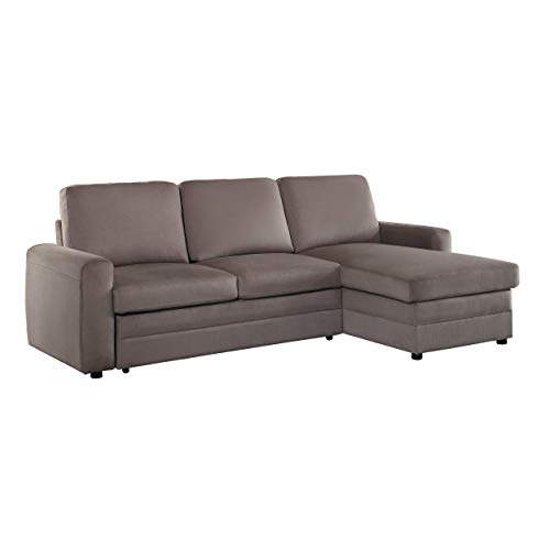 Homelegance 8211 Welty Sectional Sofa with Reversible Chaise and Pull-Out  Bed Fossil