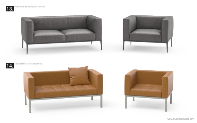 Walter Knoll Jaan sofas and armchair.13. Zanotta Dama sofas and armchair.14.  www.Traveller Location