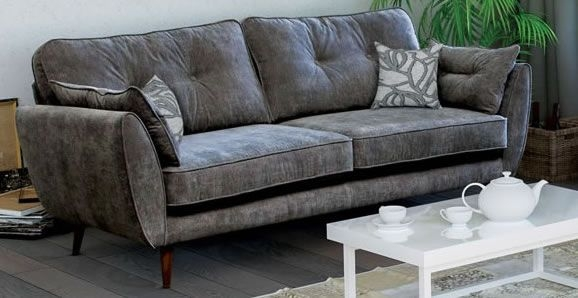 Custom Three Seat Grey Fabric Sofa Sofas Direct, Grey Fabric Sofa