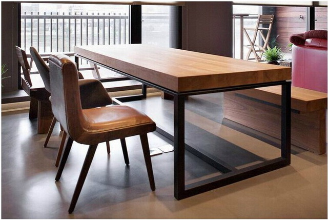 European solid wood dining table rectangular wood dining tables combination  of small size wrought iron wood tables