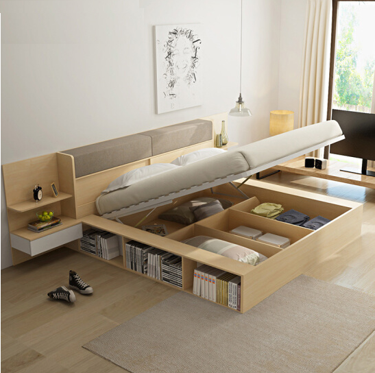 Space saving furniture,modern simple wooden multi-purpose bed,made in China
