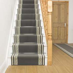 Image is loading Key-Grey-Stair-Carpet-Runner-For-Narrow-Staircase-