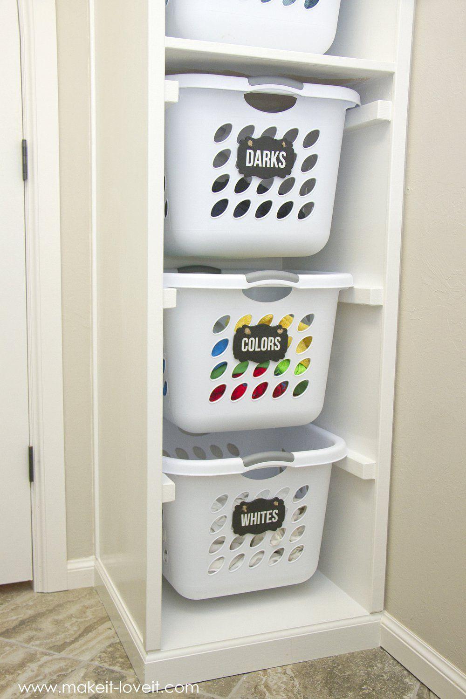 Built In) Laundry Basket Storage, Laundry Organizer Diy
