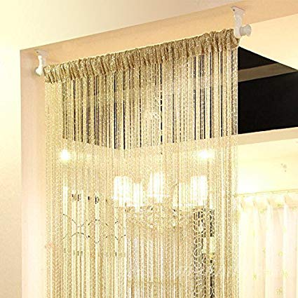 Eyotool 1x2 M Door String Curtain Rare Flat Silver Ribbon Thread Fringe  Window Panel Room Divider
