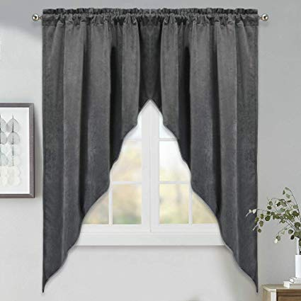 "Swag Curtains for Bedroom Window - 63"" Length Blackout Tier Curtains,  Textured Home Fashion"