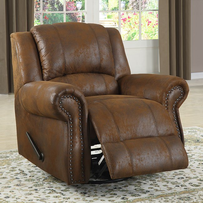 Quinn Swivel Reclining Chair (Bomber Jacket Microfiber) by Homelegance |  FurniturePick