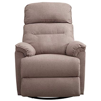 CANMOV Contemporary Fabric Swivel Rocker Recliner Chair – Soft Microfiber  Single Manual Reclining Chair, 1
