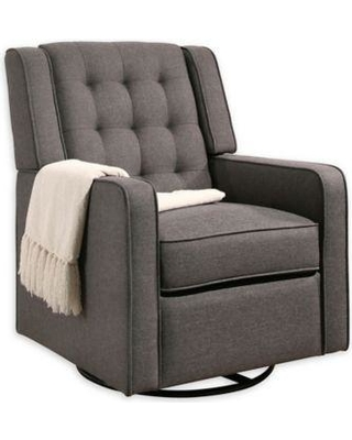 Abbyson Living Avery Swivel Rocker Recliner In Charcoal Grey