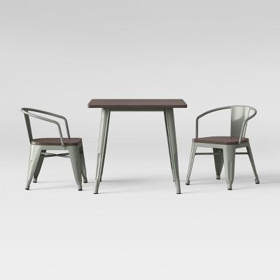 3Pc Mixed Material Kids Table Set Pine Wood Top Skykine Gray - Pillowfort™