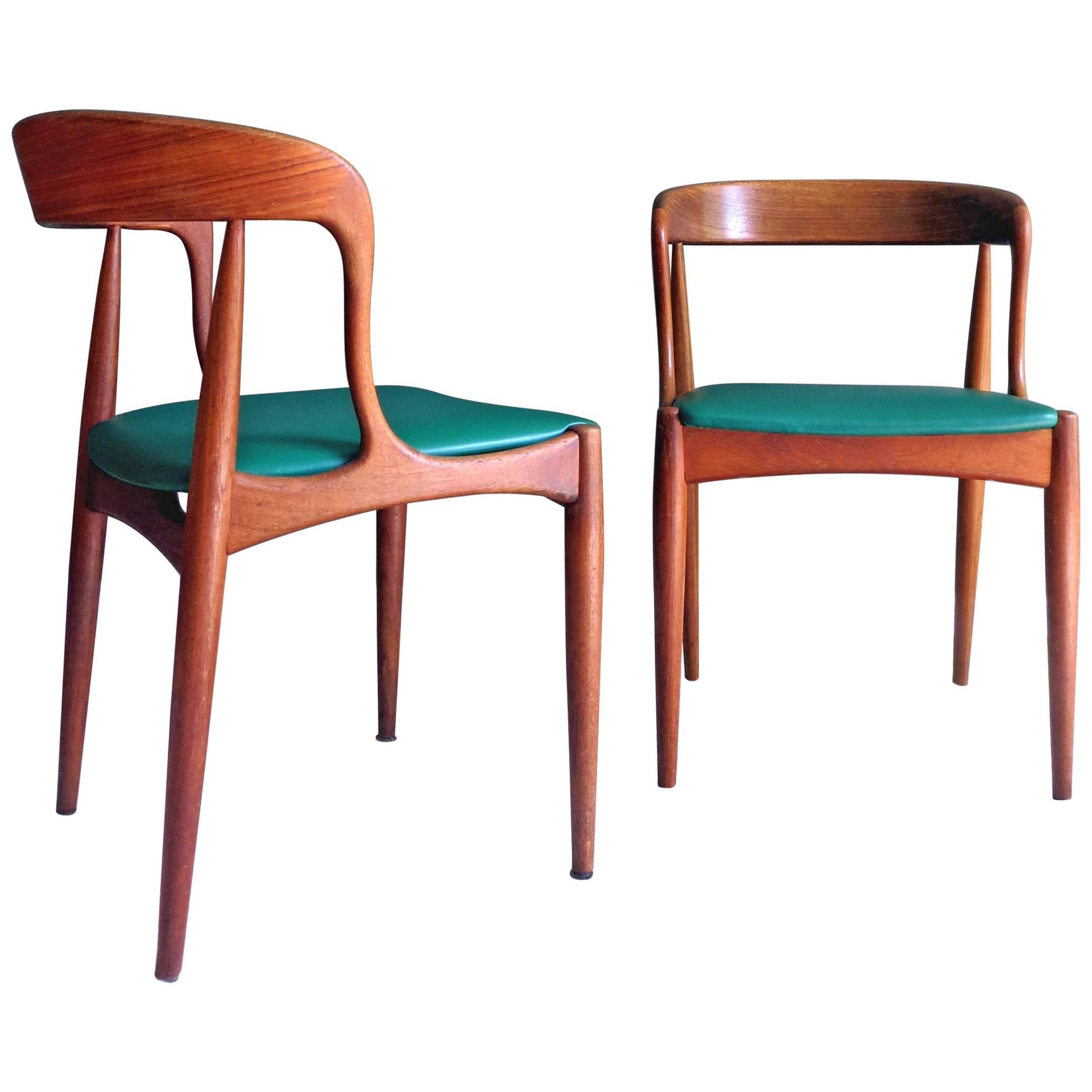 Uldum Denmark Model 16 by Johannes Andersen Dining Teak Chairs ,Set of 2,  1960s