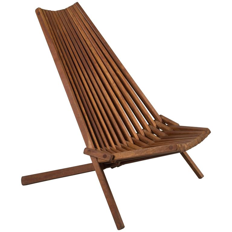 Mid-Century Teak Folding Chair For Sale