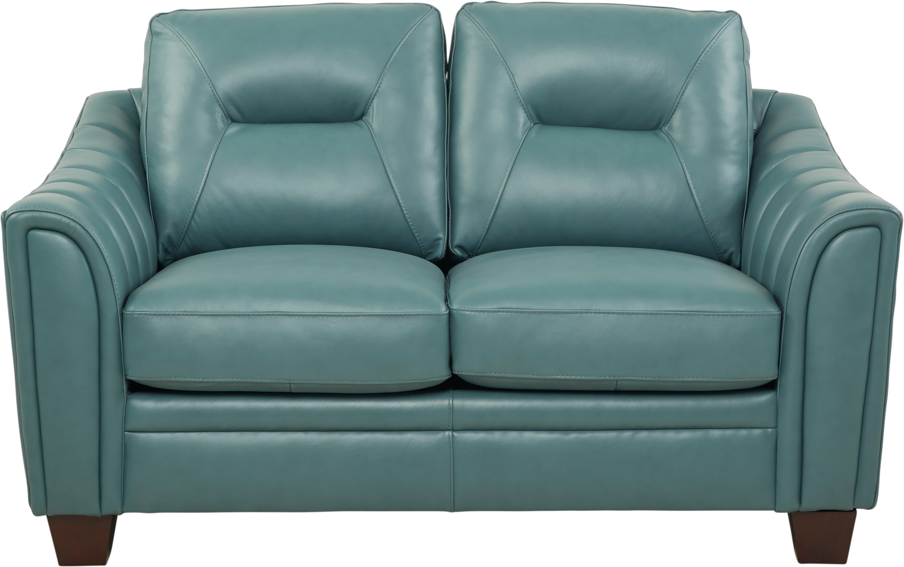 Cindy Crawford Home San Martino Teal Leather Loveseat - Leather Loveseats  (Blue)