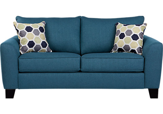 $424.00 - Bonita Springs Blue Loveseat - Classic - Transitional, Textured