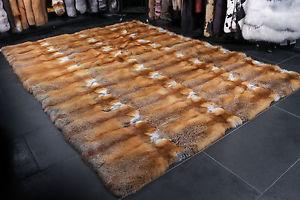Image is loading 1560-Canadian-Redfox-carpet-Genuine-Fur-Rug-Red-