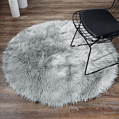LEEVAN Plush Sheepskin Style Throw Rug Faux Fur Elegant Chic Style Cozy  Shaggy Round Rug Floor