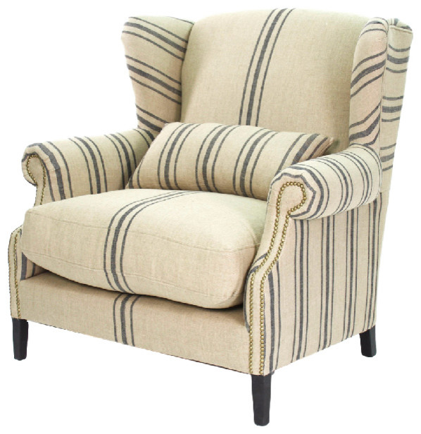 Napoleon French Fog Linen Blue Stripe Wingback Arm Chair