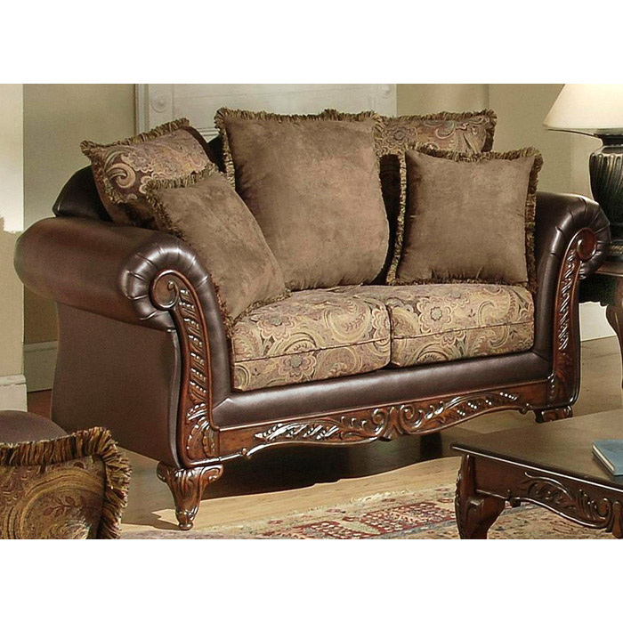 Serta Ronalynn Traditional Living Room Sofa Set w/ Carved Wood Trim -  CHF-RONALYNN