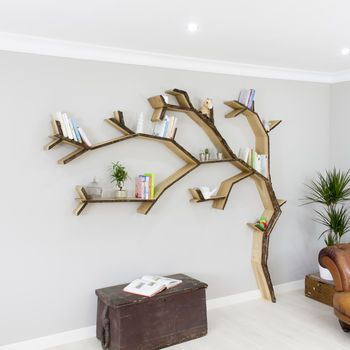 Windswept Oak Tree Bookcase Shelf