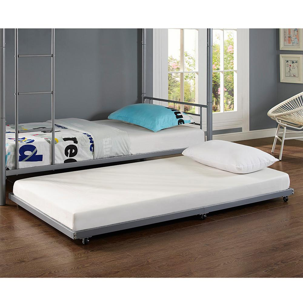 Walker Edison Furniture Company Silver Twin Metal Trundle Bed-HDT40TBSL -  The Home Depot