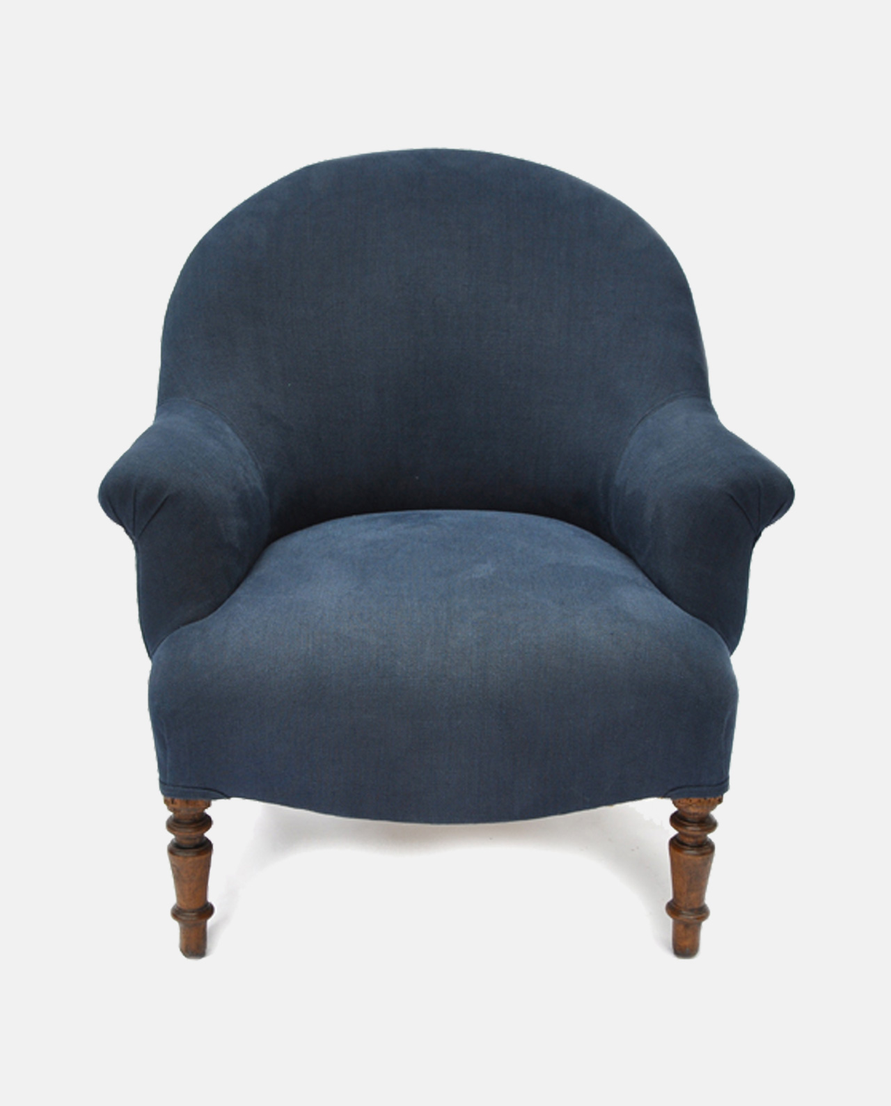 Image of vintage tub chair in Designers Guild Brera Lino linen colour  Indigo by Ines Cole