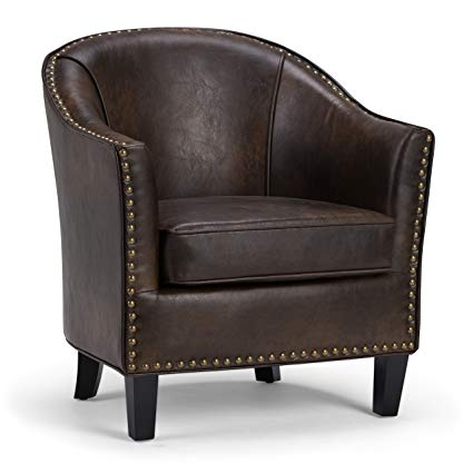 Simpli Home AXCTUB-004-DBR Kildare Transitional 29 inch Wide Tub Armchair  in Distressed