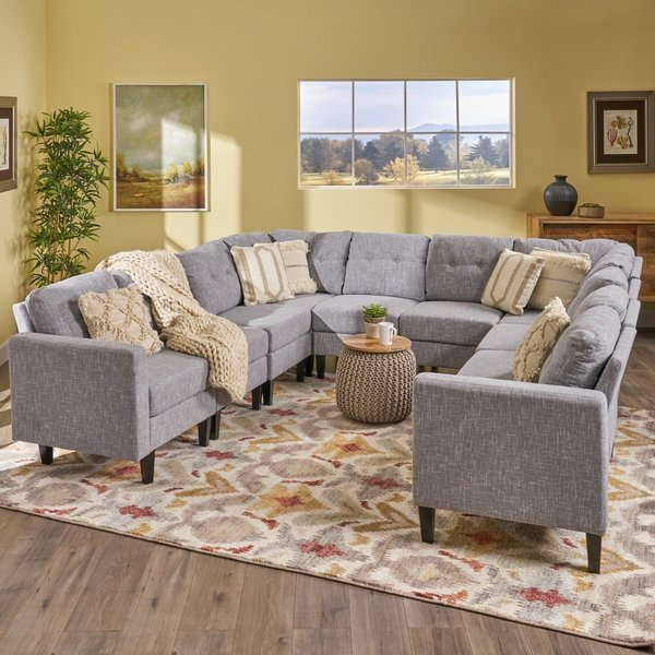Delilah Mid Century Modern U-Shaped Sectional Sofa Set(Set 0f 10) by