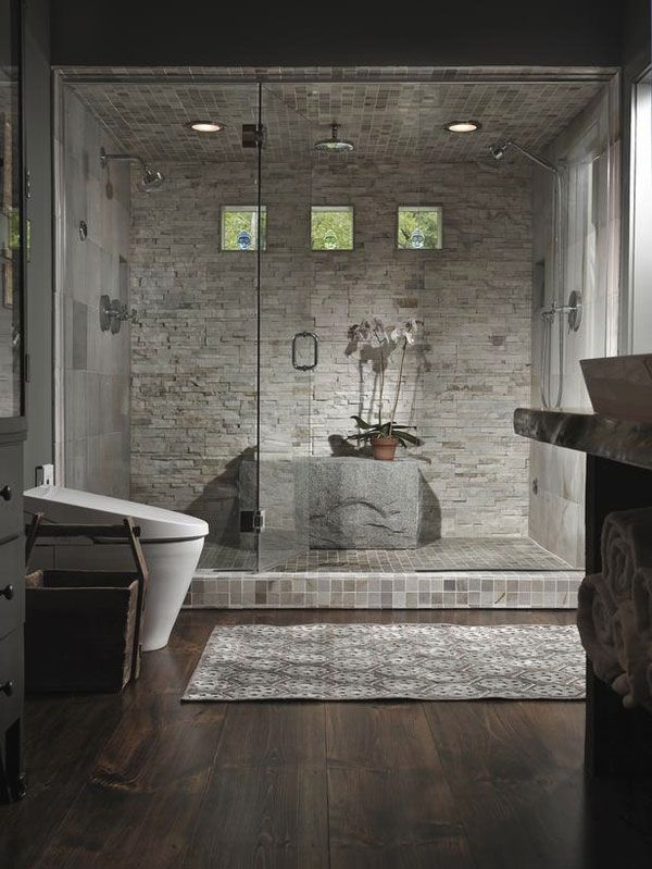 Wall Design Ideas |  with Stacked Stone Wall: Unique Bathroom with  Stacked Stone Wall