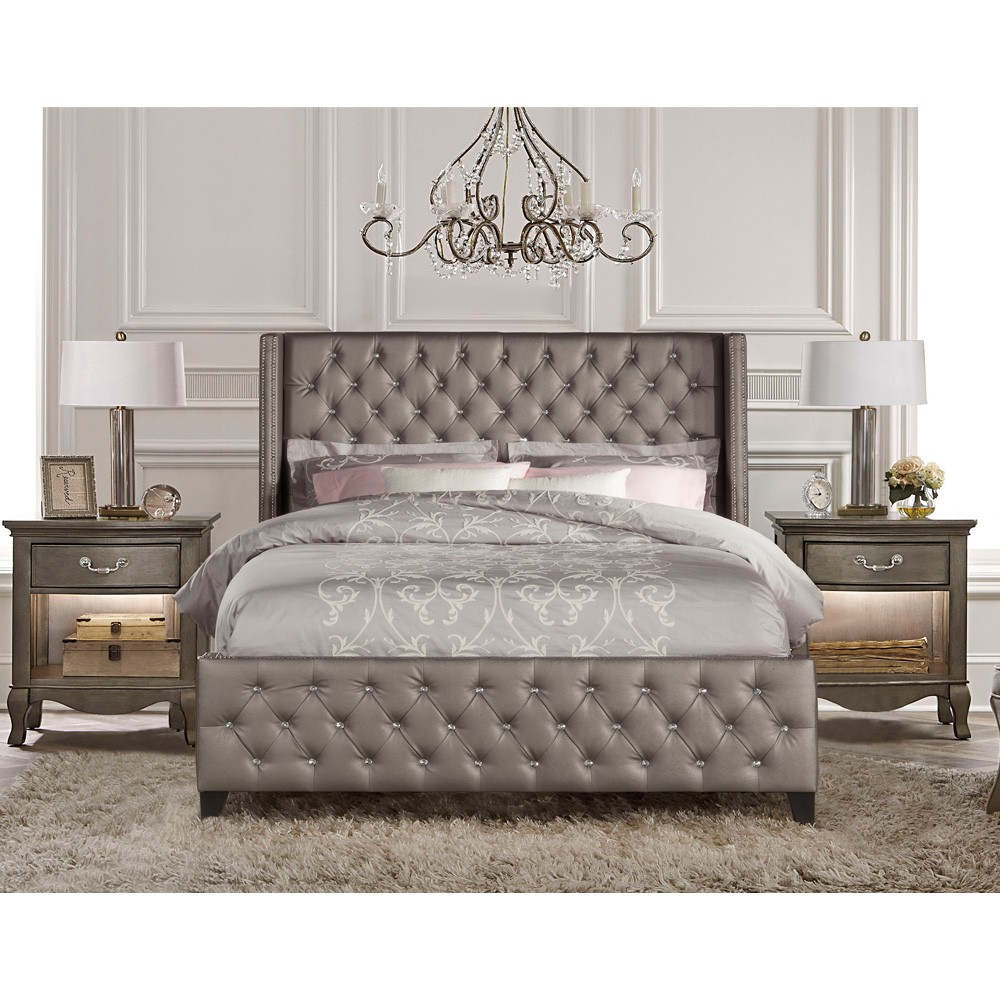 Memphis Upholstered Bed in Textured Pewter