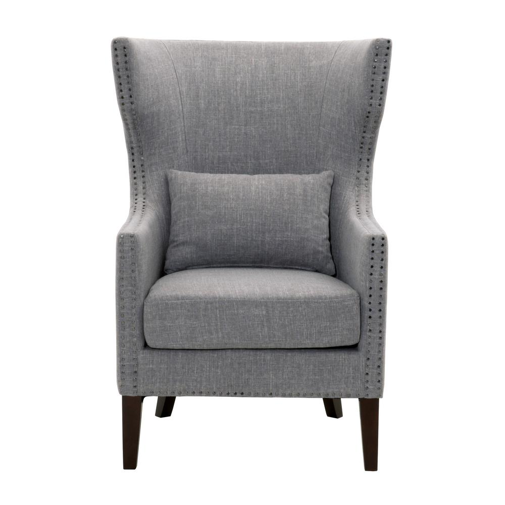 Home Decorators Collection Bentley Smoke Grey Upholstered Arm Chair-9434700130  - The Home Depot