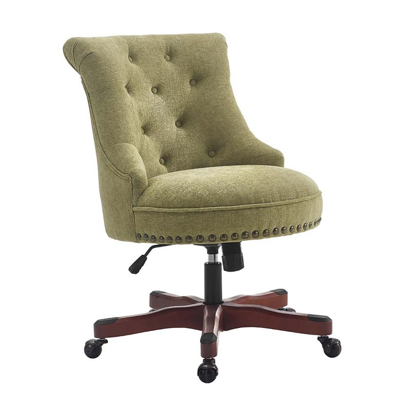 Linon Sinclair Swivel Fabric Upholstered Office Chair in Green -  178403GRN01U