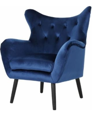 Ashton Mid Century New Velvet Armchair, Navy Blue